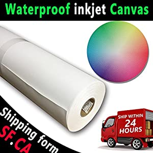 17″ x 40′, 2 Rolls,Premium Waterproof 100% Polyester Inkjet Digital Printing Matte Art Canvas for Water-Based EPSON HP Canon Aqueous Printers