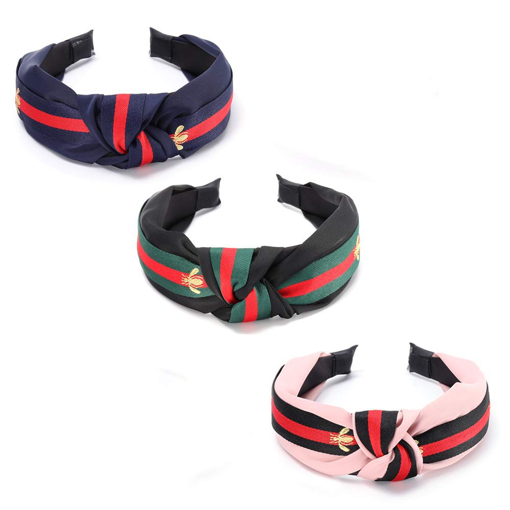 Headbands for Women, 3 Pack, Thick, Wide Knotted Turban Bands for Teens, Girls and Adults, Cute Bee, Fashion and Vintage Black, Navy, and Pink Hair Accessories