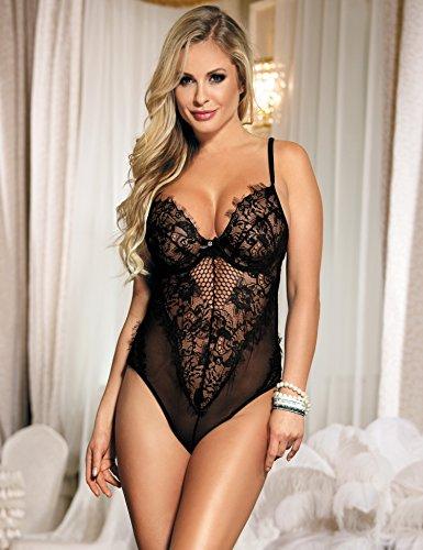 438fb5a9c51 comeondear Women Lace Teddy Bodysuit Mesh Babydoll Outfit Plus Size  Lingerie Bodysuit