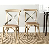 Safavieh American Homes Collection Eleanor Farmhouse X-Back Weathered Oak Dining Chair (Set of 2)