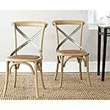 Safavieh American Homes Collection Eleanor Farmhouse X-Back Weathered Oak Dining Chair (Set of 2) For Sale