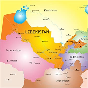 Usbekistan Karte.Posterlounge Acrylglasbild 120 X 120 Cm Karte Usbekistan Von