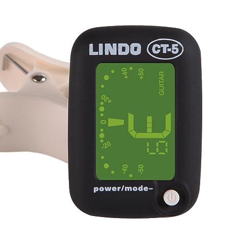Lindo CT-5 - Mini afinador (con clip, guitarra y bajo eléctricos y