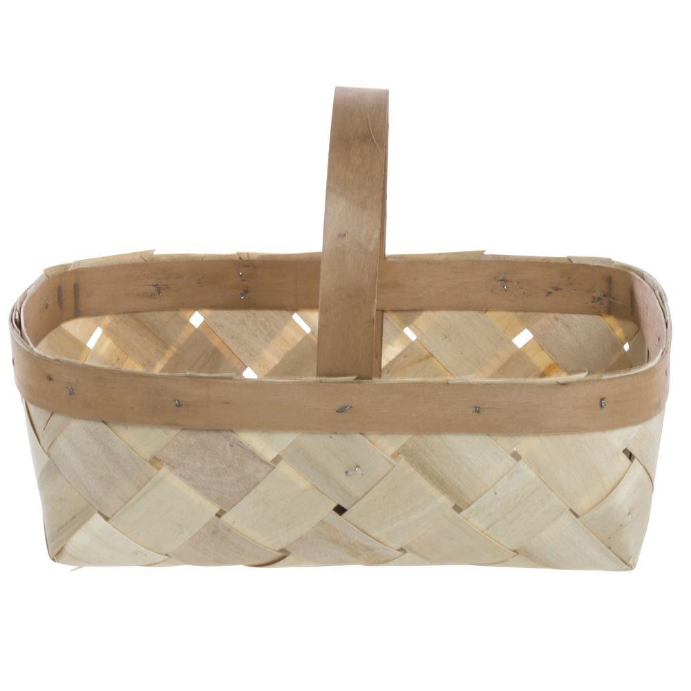 8 qt Rectangular Natural Wood Split Basket With Handle - 14'' L x 8'' W x 5'' H