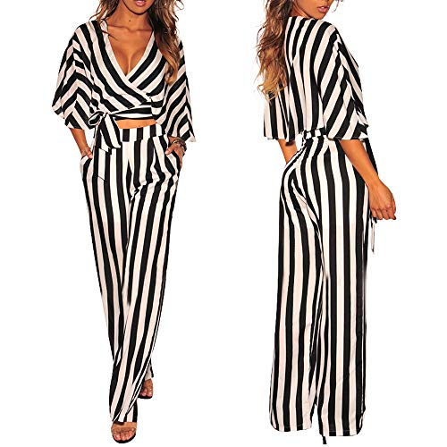 HHei_K Womens Sexy V Neck Cross Front Bow Ties Knot Striped Long Sleeve Cropped Tops Wide Leg Long Pants ()
