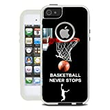 Protective Designer Vinyl Skin Decals / Stickers for OtterBox Commuter iPhone 5S / 5 / SE Case - Basketball Never Stops Design Patterns - Only SKINS and NOT Case - by [TeleSkins]