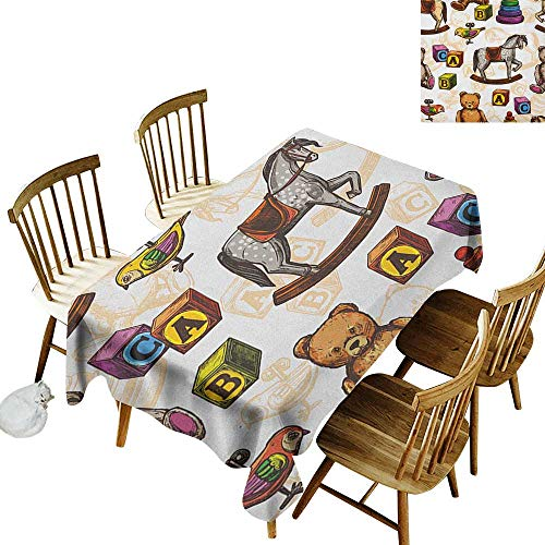 Cranekey Party Rectangular Tablecloth W54 x L90 Vintage Retro Style Kids Toys Rocking Horse Teddy Bear and Bird Illustration Print Brown and Grey Great for Outdoors & More