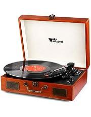 Tourne Disque - Amzdeal Platine Vinyle Rétro Bluetooth Portable à 3 Vitesses (33/45/78) avec 2 Haut-Parleurs, Multifonctionnel avec Prise USB/SD/MMC, Sortie RCA, Style Vintage en Grain de Bois