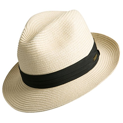 Sedancasesa Women and Men's Straw Fedora Panama Beach Sun Hat Black Ribbon (Black Panama Straw Hat)