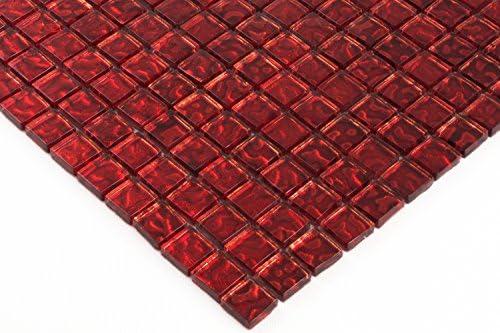 Amazon Com Glass Mosaic Tiles Red Glass Tiles