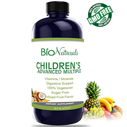 Bio Naturals Children's Liquid Multivitamin & Immune Booster - Natural Supplement for Kids & Toddlers with Vitamins A B C D3 E, Fiber, Fruits & Vegetables - No GMOs, Gluten, Sugar, Dairy, Soy - 16oz