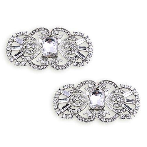 ElegantPark BG 2 Pcs Shoe Clips Antique Mask Design Rhinestones Wedding Party Decoration Silver