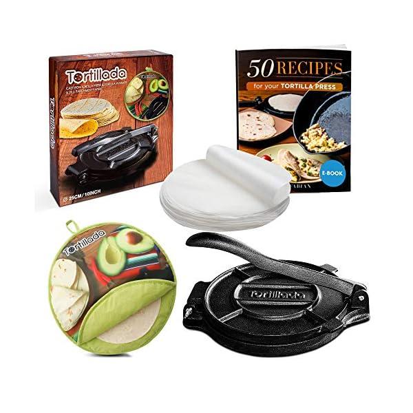 Tortillada - Pressa per tortilla in ghisa di alta qualità, con libro elettronico di ricette (25,5 cm) + scaldino… 1
