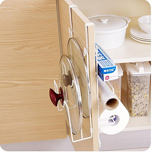 Double-sided 5-tier Pot lid shelf kitchen paper holder plastic wrap holder towel holder by HOMEGIFT