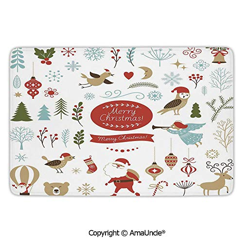 - Fashion Floor Rugs with Unique Design,Christmas,Big Set of Christmas Graphic Elements Delicate Gentle Cute Ornate Figures Icons Decorative,Multicolor Pattern,L23.6xW35.4 Inches,Protect Your Home from