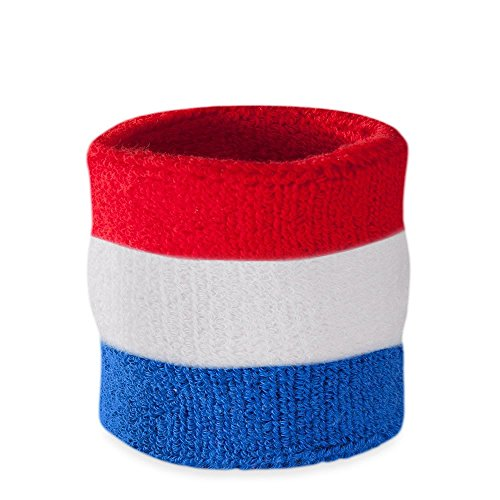 Richard Simmons Costume Ideas (Suddora Striped Wrist Sweatband- Athletic Cotton Terry Cloth Wristband for Sports (1 Piece)(Red White and Blue))