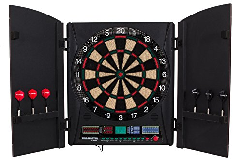 Arachnid Bullshooter Marauder 5.0 Electronic Soft Tip Dartboard Cabinet Set Integrated Wood Doors Ideal Any Game Room