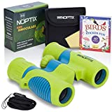 Kids Binoculars Real Binoculars in 2 Different Vibrant Color Options for Boys and Girls - BONUS Sticker Book of 40+ Birds with Species Names - Green & Blue