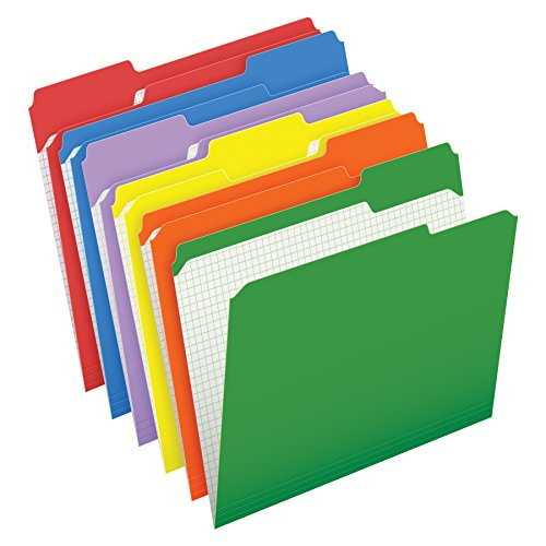 Pendaflex Color File Folders with Interior Grid, Letter Size, Assorted Colors, 1/3 Cut, 100/BX (R152 1/3 ASST)