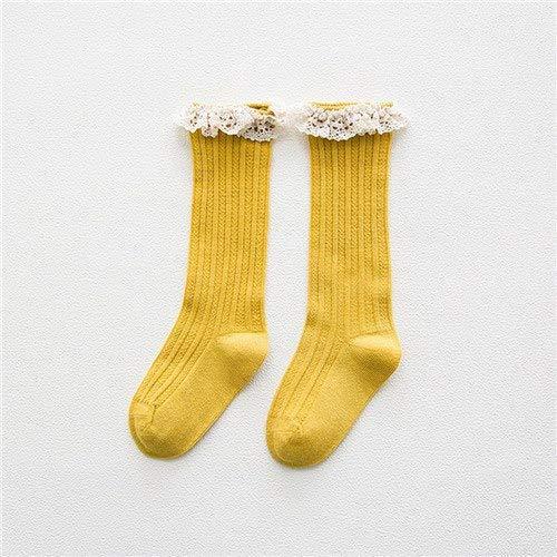 Loune Week Baby Knee high Socks Kid Princess Girls Socks Childrens Knee High Socks with Lace Baby Leg Warmers Cotton Spring Style,