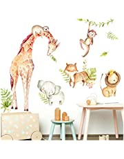 Little Deco Muursticker Dieren & leeuw met kroon II olifant giraffe luiaard muursticker babykamer jongen muursticker kinderkamer DL472