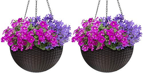 Sorbus Hanging Planter Round Self-Watering Basket, Resin Woven Wicker Style, Great for Home, Garden, Patio – Espresso Brown (Large, 2-Pack)