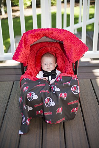 (NFL Tampa Bay Buccaneers The Whole Caboodle 5PC set - Baby Car Seat Canopy with matching accessories)