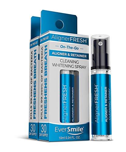 AlignerFresh Retainer & Invisalign Cleaner Spray - On The Go Aligner Cleaning & Teeth Whitening. Kills Bacteria & Freshens Bad Breath. Mint Flavored (2pk)