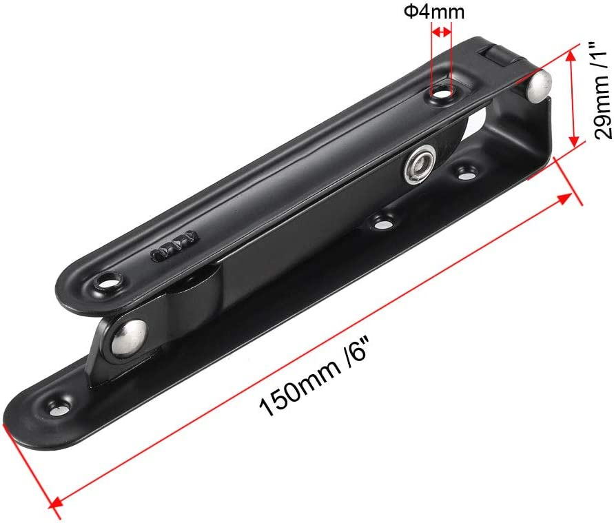 sourcing map Folding Bracket 6 inch 150mm for Shelves Table Desk Wall Mounted Support Collapsible Long Release Arm Space Saving Carbon Steel