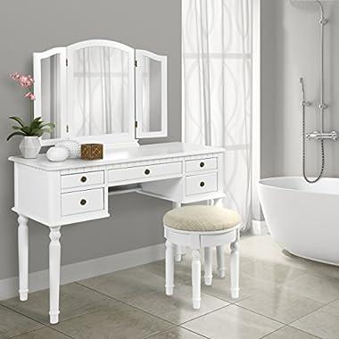 Bathroom Tri Mirror Vanity Set Makeup Table Hair Dressing Organizer, White