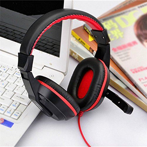 preliked Wired 3.5mm Stereo Over-The-Ear Headphones Gaming Headset Earphone with Microphone (Black Red)