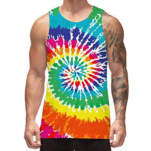 Freshhoodies Mens 3D Tank Tops Tie Dye Sleeveless Graphic Tee Party Designer Art Tank Tops Graffiti Jersey Undershirts (Tie-dye, Large) Art Print Tank Top
