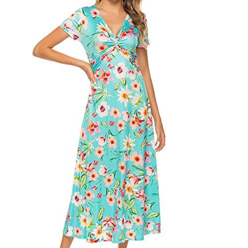 Dresses Summer Bohemian Print Wrap V-Neck Print Split Beach Casual Maxi Dresses Fashion Casual Floral Summer Short Sleeve Dress Women (M,10- Sky Blue)