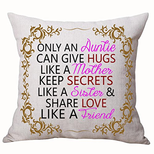 Best Gifts For Aunt Nordic Sweet Warm Funny Sayings Only An Auntie Can Give Hugs Like A Mother Keep Secrets Like A Sister Cotton Linen Decorative Throw Pillow Case Cushion Cover Square 18 X 18 Inches