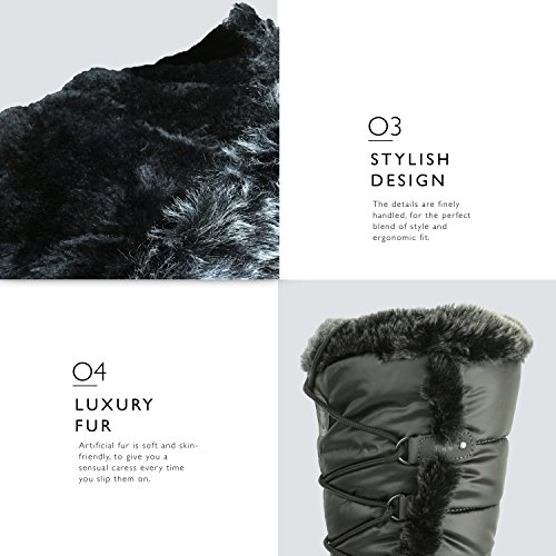 Fur Knee Boots High up Eskimo Gray DailyShoes Snow Water Resistant Warm Women's Woman's STWAgnA