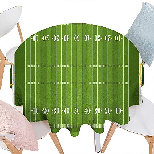 (cobeDecor Football Dinning Round Tabletop DecorSports Field in Green Gridiron Yard Competitive Games College Teamwork Superbowl Round Table Cover for Kitchen D70 Green White)