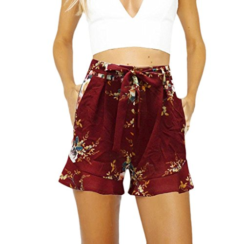 Adelina Shorts Donna Estivi Eleganti Stampato Floreale Vita Alta Casuale Baggy Spiaggia Fashionable Completi Pantaloni Corti Pantaloncini Con Cintura Rosso