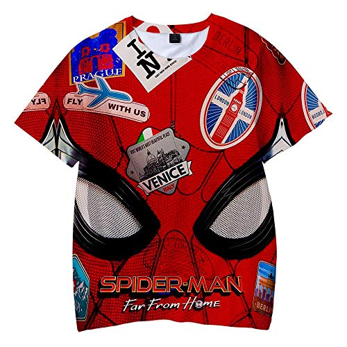 Trikahan Spiderman Cosplay Far from Home Kid's 3D Print Fashion Short Sleeve t Shirt for Children 120