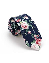 Jacquard Floral Business Skinny Neck Tie for Men Women