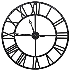 Everly Hart Collection Oversized Black and Bronze Metal Wall Clocks