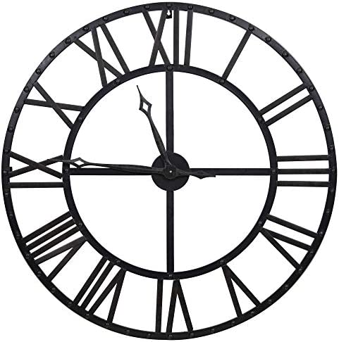 Everly Hart Collection Oversized Black And Bronze Metal Wall Clock Home Kitchen