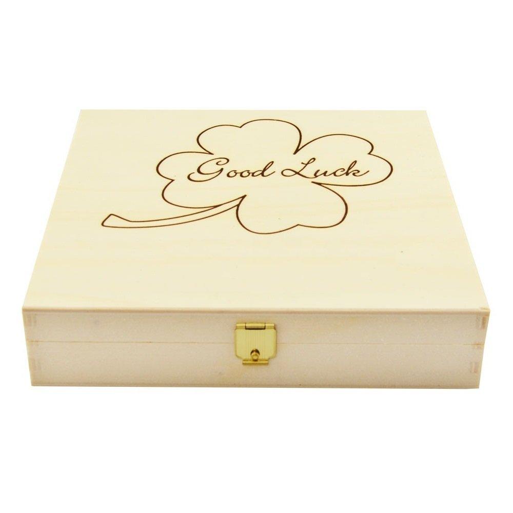4you Design Gl/ückshufeisen mit Gravur in Holzbox//als Taufgeschenk Gl/ücksgeschenk Geschenk zur Geburt hellblau Hufeisen