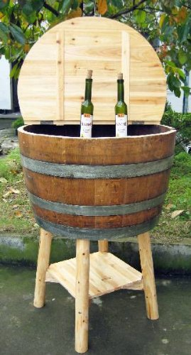 Barrel Cooler Wine (Oak wine barrel cooler with lid, lacquer finished, 26