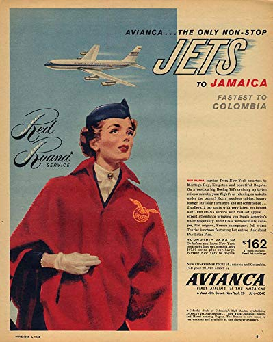 Avianca Red Ruana Service Boeing 707 Jets to Jamaica ad 1960 NYT