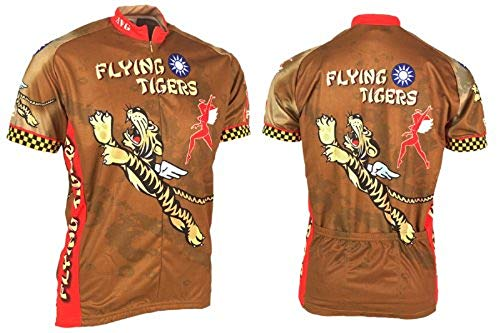 Retro Men's Flying Tigers Men's Cycling Jersey (Medium) Beige