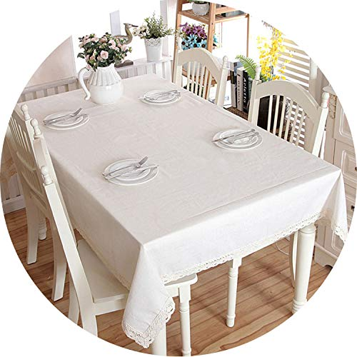 Christmas Linen Cotton Thicken Solid Tablecloth White Lace Hem Splice Washable Coffee Dinner Table Cloth for Wedding Banquet,with lace,140 X 200cm -