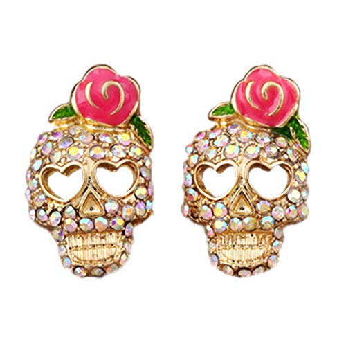 Flairs New York Drop Dangle Earrings Set (Day of the Dead Rose Skull, Pack of 1 Pair)
