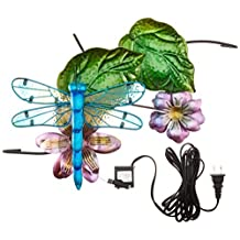 Continental Art Center CAC40078 16.93 by 9.45 by 5.51-Inch Dragonfly Fountain with Plug-In Pump for 18-Inch Glass Bird Bath