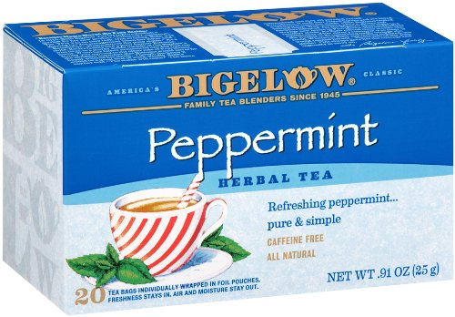 Bigelow Peppermint Herbal Tea 20 Bags (Pack of 6), Caffeine-Free Bagged Herbal Tea in Individually Wrapped Foil Packets, Contains Peppermint Leaves and Nothing Else