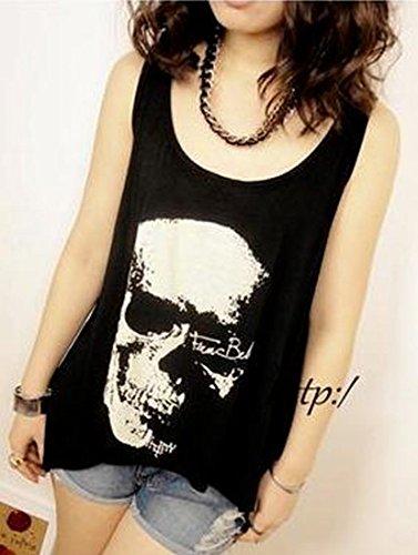 TM Womens Skull Punk Sleeveless Vest T-Shirt Tops Blouse Summer One Size Black